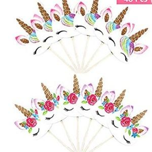 Other - Unicorn Cupcake Toothpick Toppers 48 Count